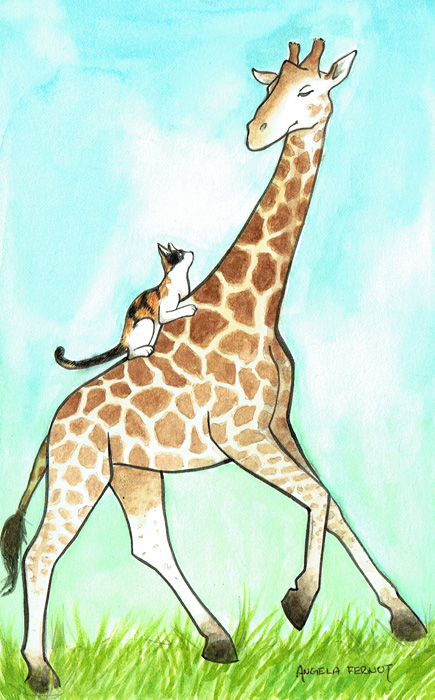 For a friend of mine who loves giraffes and has an adorably evil kitten.